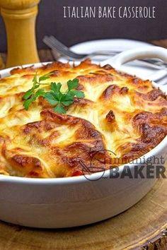 Italian Bake Casserole ~ with Italian flavors and gobs of cheese! Italian Bake Casserole ~ with Italian flavors and gobs of cheese! Casserole Dishes, Casserole Recipes, Pasta Recipes, Dinner Recipes, Cooking Recipes, Noodle Casserole, Cheese Recipes, Food Network Recipes, Pot Pasta