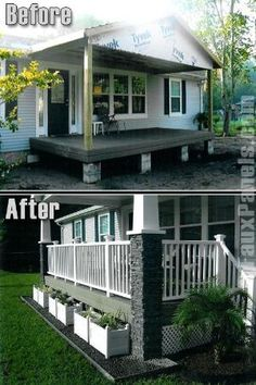 9 Beautiful Manufactured Home Porch Ideas porch with stone columns on manufactured home board ideas diy projects Mobile Home Living Mobile Home Porch, Mobile Home Living, Porches For Mobile Homes, Remodeling Mobile Homes, Home Remodeling, Bathroom Remodeling, Mobile Home Renovations, Mobile Home Exteriors, Remodeling Companies