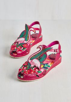 Flock and Stroll Sandal by Miss L Fire - Pink, White, Print with Animals, Patch… Red Shoes, Sock Shoes, Cute Shoes, Me Too Shoes, Flamingo Shoes, Espadrilles, Baskets, Vintage Wardrobe, All About Shoes