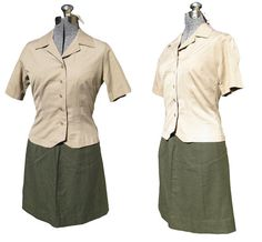 Vintage Post WWII Women's Marine Uniform - USMC Army Military Halloween Costume Outfit USO Girl Lady Skirt Top Shirt Blouse Burlesque Sexy S