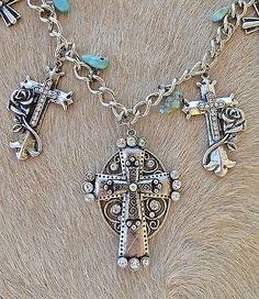 Cowgirl Bling CROSS Western Spanish Charms Silver Gypsy RHINESTONE Rose Necklace