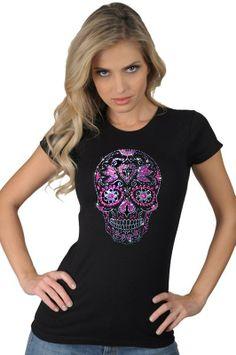 d77b7bf0 Women's Metallic Colorful Purple Pink Studded Sugar Skull Dia De Los Muertos  Skeleton Graphic Art Design T-Shirt