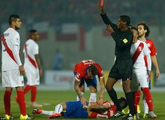 The Peruvian defender was booked earlier on in the contest but was still shown a straight red card by referee Jose Argote. Copa  America Chile 29.6.15