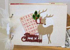 Chipboard Christmas album from our Gift Workshop at Paradise Scrapbook Boutique in Chico, CA using our FAVORITE reindeer die (ever!) by Accucut.  :)