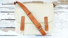 Canvas Bag Light Green Single Leather Strap Shoulder bag / Cross Body Messenger / School / Travel / Laptop bag