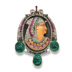 Gustave Baugrand (1826-1870) - A gold and gem-set brooch by Gustave Baugrand