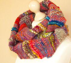 Hand woven cowl featuring handspun art yarn