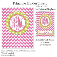 Printable Binder CoverPrintable Binder Insert by DotsAndGingham, $5.00