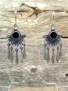 Silver Bohemian Earrings  Native Lotus Flower by StoneWearDesigns