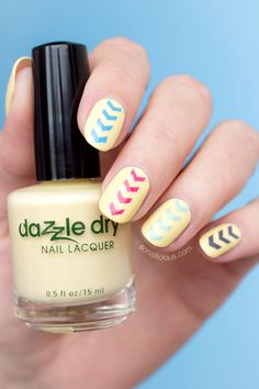 Pastel Yellow nails with Dazzle Dry Frozen Lemonade. All details: http://sonailicious.com/dazzle-dry-vegan-and-toxin-free-nail-polish/