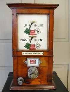 A British Absolute Block Signaling Instrument, used to facilitate the safe operation of a railway by preventing more than one train from occupying a defined section of route at the same time. This system is used on double or multiple lines where use of each line is assigned a direction of travel. Steam Railway, British Rail, Old Tools, Steam Engine, Train Tracks, Model Trains, Toys For Boys, Locomotive, Big Boys