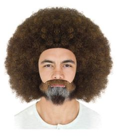 Bob Ross Afro Wig with Full Beard Set | Cosplay Halloween ...