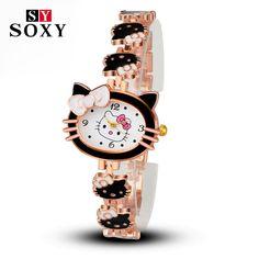 ab6e0caa8ab8 2017 New Brand Hello Kitty Cartoon Watches Women Children Dress Quartz  Wristwatch Kids Hellokitty Watches Girls Montre Enfant