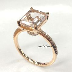 $528 Real 14K Rose Gold 7x9mm Emerald Cut Morganite Wedding Anniversary Diamond Ring #LOGR #SolitairewithAccents