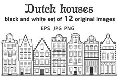 Set of 12 line Amsterdam old houses ~ Illustrations ~ Creative Market The Effective Pictures We Offer You About building facade A quality picture can tell you many things. House Sketch, House Drawing, Delft, Holland House, Amsterdam Houses, Buch Design, House Template, Dutch House, House Illustration