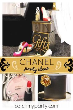 Chakoda Design *'s Engagement / Chanel - Chanel birthday party at Catch My Party Chanel Birthday Party, Chanel Party, Girl Birthday, Party Drinks, Party Favors, Shabby Chic Cakes, Chance Chanel, Vintage Party, Party Activities