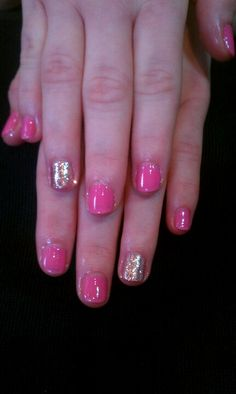 CND shellac in Gotcha with a gold glitter accent nail.