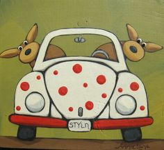 """"""" STYLN """" Whimsical Dogs in VW Art painting by Annie Lane www.yessy.com/annielane"""