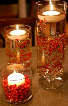 Submerged Berries & Cranberry w/ candlelight make for a beautiful centerpiece!