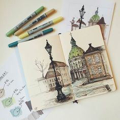 """Great looking #penandink #urbansketch #illustration by Masha Zurikova (@mashazurikova) of a #city #street in #Copenhagen #Denmark which according to Masha is the """"most stylish city"""" that she have visited in 2015. This drawing certainly advocates that point doesn't it? Inked with #micron pens and colored with #copic #markers this #drawing really captures some great elements of the #architecture of this #capitalcity especially that green and yellow #dome #building and the cool looking…"""