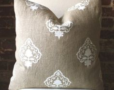 """White Medallion - Hand printed in India on Natural Linen - Pillow Cover size 20""""x20"""""""