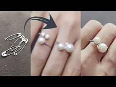 Diy finger ring/pearl ring making diy /double pearl ring made from safety pin/reuse old things diy - YouTube Diy Rings Easy, Diy Bracelets Easy, How To Make Rings, Wire Jewelry, Beaded Jewelry, Jewelery, Diy Pearl Rings, Safety Pin Art, Ring Making