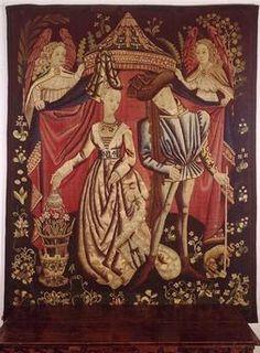 Charles d'Orléans et Marie de Clèves, sa seconde épouse (tapisserie d'Arras, 15°s) Paris, musée des Arts décoratifs. - L'originalité de l'art de Charles d'Orléans tient précisément dans la réunion, en une synthèse parfaire, du raffinement du Moyen Age finissant et d'une sensibilité encline à l'introspection et au dédoublement romantique avant la lettre, se révélant ainsi comme l'un des représentants les plus typiques de l'aristocratie et de la littérature médiévale.