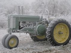 Our old John Deere A tractor frost-covered. Learn how to drive my gpas tractor, he would love this pic!