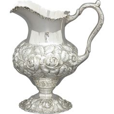Sterling Silver Hand Chased Repousse Water Pitcher from atlantasilver on Ruby Lane