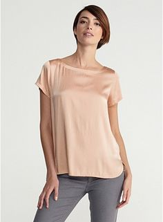 Eileen Fisher Bateau Neck Short-Sleeve Box-Top in Stretch Silk Charmeuse