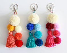 Tassel keychain Pom pom bag charm Purse charm Pom pom handbag charm Pom pom key chain Hot pink tassel key ring Tassel clip Seashell keychain – My All Pin Page Pom Pom Crafts, Yarn Crafts, Diy And Crafts, Crochet Keychain, Tassel Keychain, Diy Tassel, Tassels, Upcycled Crafts, Pom Pom Bag Charm