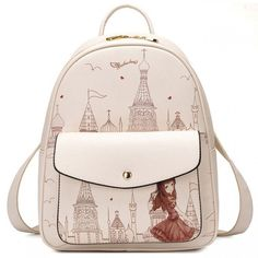 Cool! Sweet Girl's PU Cartoon Church Tower Girl Printing School Backpack Travel Backpack  just $37.99 from ByGoods.com! I can't wait to get it!