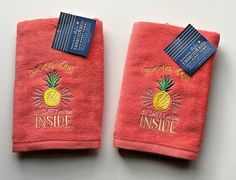 Hand Towels Pineapple Summer Days Pink Embroidered Guest Bathroom Set of 2 New