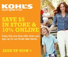 Kohls Printable Coupons and Coupon Codes - $5 off in-store coupon and 10% off online #coupons