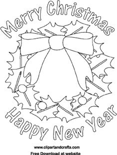 Merry Christmas And Happy New Year Wreath Printable Holiday Poster Coloring Sheet