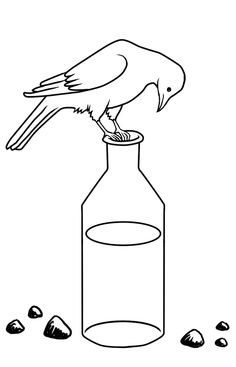 Another rejected t-shirt design for ARCC. This time it was because I had illustrated one of Aesop's fables instead of something Chinese. Crow and Water Bird Coloring Pages, Coloring Sheets, Coloring Pages For Kids, Common Crow, American Crow, Aesop's Fables, Hindi Worksheets, Bird Artwork, Connect The Dots