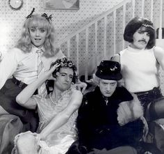 "queen-unofficial: "" Queen on the set of the I Want To Break Free promotional video at a studio in Battersea, London on March 23, 1984 Photo by Simon Fowler / Queen Productions Ltd """