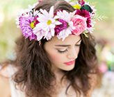 Bright Bohemian Wedding Ideas. Our shoot was featured on @wedding chicks. Hair and makeup by Simone at Makeover Station. Floral wreath by Peplum Events. Photos by @Amalie Skrede Orrange Photography