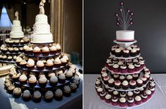 Check Out Pictures Of Cupcake Wedding Cakes. Cupcakes are the perfect sweet treat for a wedding. If you're getting married soon, or know someone who is, make up a special batch of wedding cupcakes. Vegan Wedding Cake, Wedding Cake Red, Wedding Cake Photos, Purple Wedding, Gold Wedding, Wedding Shoes, Wedding Rings, Cupcakes Cool, Wedding Cakes With Cupcakes