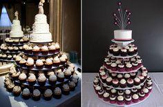 Bandeja de cupcakes coronada por una tarta nupcial