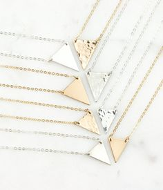 Triangle Necklace Gold Dainty Necklace in 14k Gold by GLDNjewelry