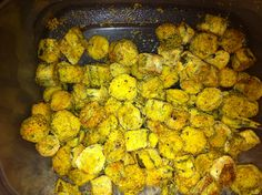 Best oven fried okra  Kevin and I just made the best okra. Turn gallon bag inside out. Spray with canola oil. Turn bag right way. Add 1 bag thawed cut okra. Add 1 tsp garlic salt, 1 tsp pepper, and 1 tsp salt. Shake. Let it sit 10 minutes. Add 3/4 cup corn meal and 1/4 cup flour. Preheat oven to 425.  Let sit for another 10 minutes.  Place okra on foil lined cookie sheet. Spray okra with canola. Bake 20 minutes. Take out turn and spray with canola again. Bake another 20 minutes. It is…