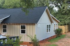 When choosing our exterior siding, I knew that I wanted to create a craftsman/farmhouse look with board and batten. When choosing our exterior siding, I knew that I wanted to create a craftsman/farmhouse look with board and batten. Exterior Siding Colors, Exterior House Siding, Bungalow Exterior, Cottage Exterior, Exterior Design, Home Siding, Tin Siding, Cafe Exterior, Ranch Exterior