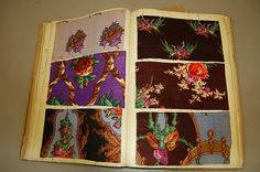 Two books of printed wools, 1840s-50s, the first 80 pages, dated 1843, including brilliantly coloured floral, Paisley, striped wool and gauze swatches; the other approx. 60 pages mainly brightly coloured large scale designs, not always with full repeats, (2)
