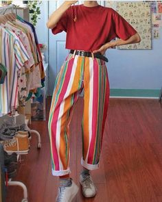 Fashion Color Vertical Stripes Straight Trousers – Fofront Source by outfits Fashion Mode, 80s Fashion, Fashion Dresses, Womens Fashion, Funky Fashion, College Fashion, Holiday Fashion, Modest Fashion, Fall Fashion