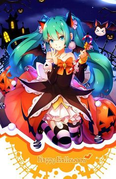 Image about wallpaper in Anime 😍❇ by Jobyyy💕🦋 Anime Girl Neko, Anime Art Girl, Manga Girl, Anime Girls, Anime Halloween, Halloween Icons, Happy Halloween, Vocaloid, Anime Blue Hair