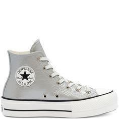 Womens Metallic Classics Platform Chuck Taylor All Star High Top High Top Sneakers, Converse Sneakers, Converse High, Vans, All Star, High Tops, Foot Locker, Conception En Cuir, Reebok
