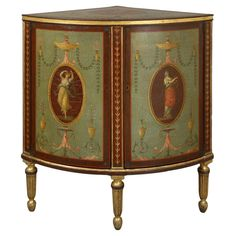 Clay Corner Cabinet probably by Henry Clay. The top and doors with Angelica Kauffman style decoration .  Circa 1790  | From a unique collection of antique and modern cabinets at http://www.1stdibs.com/furniture/storage-case-pieces/cabinets/