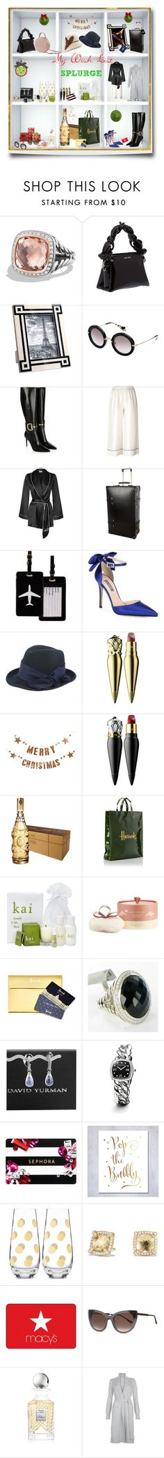 """SPLURGE GIFTS  ( I'm worth it )😉🎅🎄🎁"" by deborah-518 ❤ liked on Polyvore featuring David Yurman, Miu Miu, Frontgate, Gucci, Erika Cavallini Semi-Couture, Agent Provocateur, Globe-Trotter, TravelSmith, SJP and CA4LA"