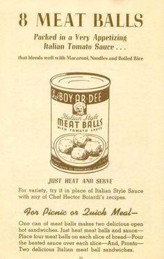Chef Boy-Ar-Dee ~ Vintage Ad 👨🍳 Retro Food, Vintage Food, Retro Ads, Vintage Movies, Retro Recipes, Vintage Recipes, Real Food Recipes, Vintage Ephemera, Vintage Ads